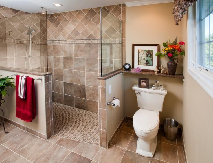 Delightful-Walk-In-Shower-Design-ideas-for-charming-Bathroom-Traditional-design-ideas-with-0-Threshold-bathroom-bathroom-remodel-glass-half-wall-no-barrier-tile-floor