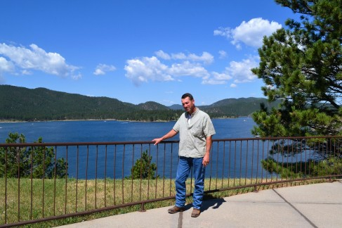 Dave next to Pactola Reservoir, looking directly into the sun
