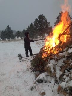 Jen roasting marshmallows