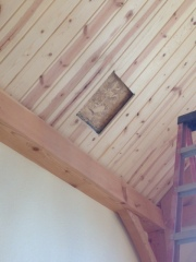 Hole in the roof for stovepipe
