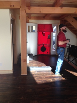 Todd testing the insulation with the blower door