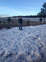 Jen shoveling