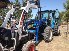 Trying to line the loader up with the tractor