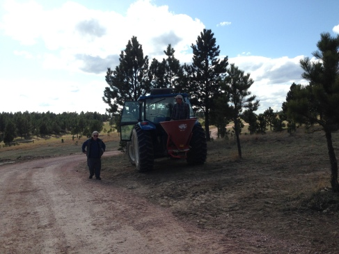 Dad checking out the tractor
