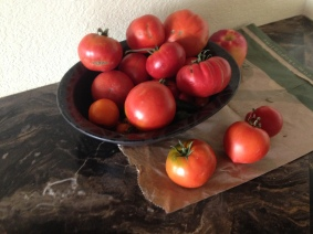 One of many piles of tomatoes
