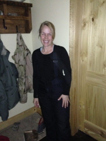 Getting uniformed up in the mudroom, fixin' to do chores