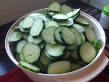 Bowl full of cucumbers