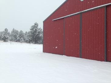 Red barn, white snow, love it
