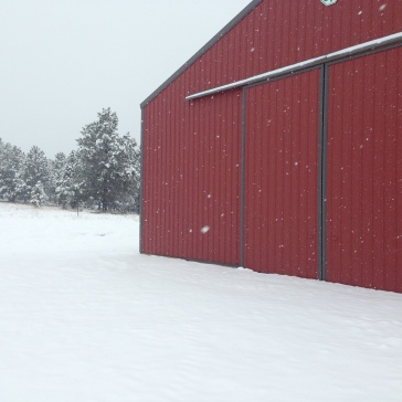Red barn, white snow, love it