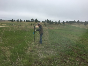 Rancher Dave putting in T-posts